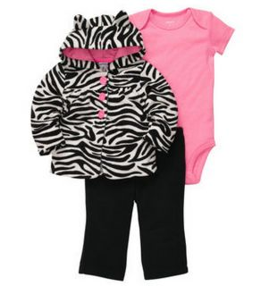 Carters Baby Girl Clothes 3 Piece Set Black White Pink 3 6 9 12 18 24 Months