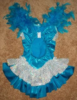 Dazzling Little Girls Shimmery Ice Figure Skating Dress Size 5 6 w W