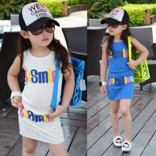 Baby Kids Girls Words Pattern 2 Pcs Set Costume Clothes Tank Tops Dress Sz 2 7Y
