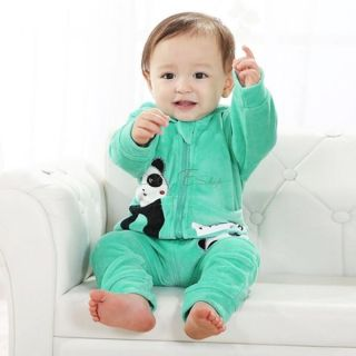 Baby Toddler Boy Girl Panda Hoodie Outerwear Top Pant Children Clothing 2pcs Set
