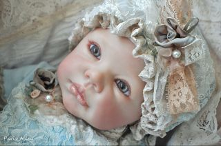 Sweet Blue Skies French Lace Christening Dress Hat 4 Reborn Baby Doll
