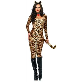 Sexy Cougar Cat Adult Leopard Catsuit Halloween Costume