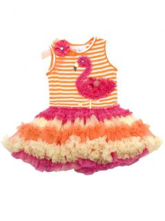 RARE Editions Toddler Girls Orange Stripe Flamingo Dress 12 18 24 Months