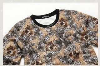 Mens Casual Crewneck Leopard Print Long Sleeve Hip Hop Stylish Shirt Hoodie N505