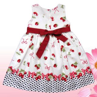 Gorgeous Strawberry Cherry White Baby Girl Dress Kids Clothing Sz 4T Last One