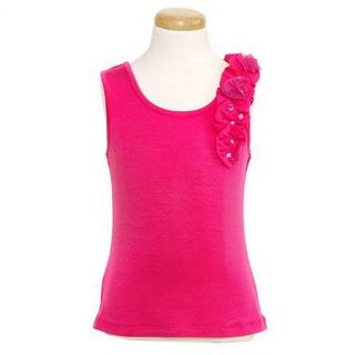 Lipstik Designer Girls 16 Pink Flower Jeweled Knit Tank Top Shirt