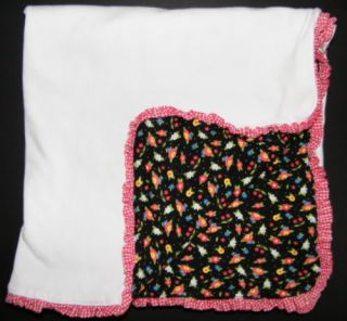 Black White Cherry Floral Mary Engelbreit Baby Blanket