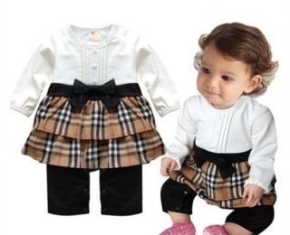 1pc Infant Baby Girl Kids Newborn Plaids Romper Bodysuit Dress Bowknot Clothes