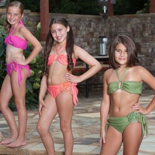 9's Designer Swimwear Girls Green 2pc Bikini Swimsuit 10