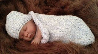 Hand Knitted Baby Sleeping Bag Papoose Cocoon Hat Photo Photography Prop 0 3M
