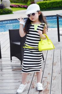 Lovely Kid Toddlers Girls Pretty Stripe Black White Sleeveless Pretty Long Dress