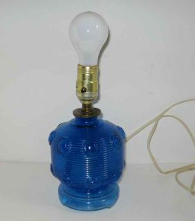Vintage Art Deco Style Glass Cobalt Blue Molded Ribbed Table Boudoir Lamp