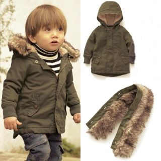 Baby Toddler Kid Boy Smart Winter Warm Hood Snowsuit Toggle Coat Jacket 12M 3YR