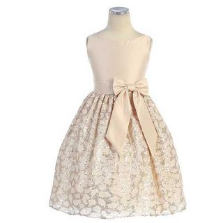 Sweet Kids Girls Size 12 Gold Satin Lace Easter Flower Girl Dress