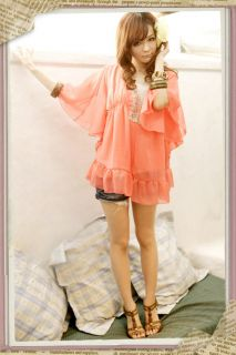 Cute Junior Girls Baby Doll Tops Chiffon Ruffle Blouses Batwing Sheer Clothes