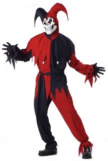 Scary Evil Jester Clown Adult Costumes Red Black 00746