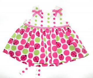 RARE Too Infant Baby Girl Lady Bug Dotty Dress Pink White Size 6 Months