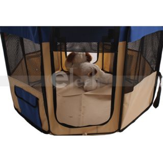 "New 49"" Pet Puppy Dog Cat Large Playpen Kennel Exercise Pen Crate Blue"