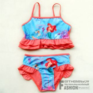 Girl Kids Princess Ariel Mermaid Baby Bikini Swimsuit Swimwear Bathers 2 7 Years