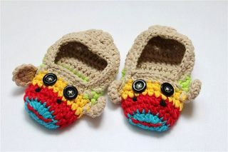 Cute Handmade Knit Shoes Newborn Baby Photograph Multi Beige Sock