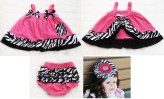 Kid Baby Cute Dress Set Top Pants Bloomer Headband Hot Pink Zebra Print