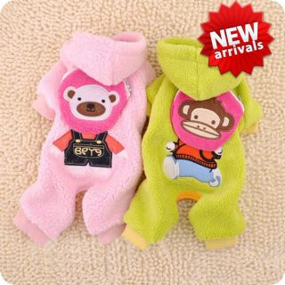 2 Color Warm Soft Coral Running Monkey Bear with Snacks Bag Dog Clothes Jumpsuit