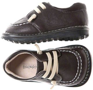 Boys Kids Toddler Childrens Leather Squeaky Shoes Kickers Style in Brown