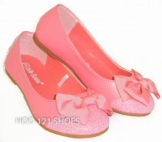 Cute Bow Girls Kids Cap Toe Ballet Flats Casual Pageant Dress Shoes