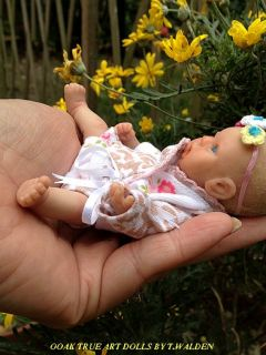 "OOAK Cute Realistic Baby Girl 6"" Poseable Mini Sculpt Art Doll by T Walden"