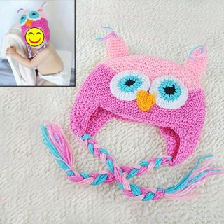 Cute Baby Girls Boys Toddler Crochet Knitted Warm Winter Cap Beanie Earflap Hat