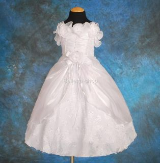 White Flower Girls Infant Pageant Dress Sz 12 18mo FG49
