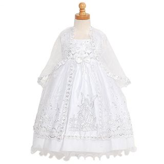Rain Kids Baby Girls 12M White Silver Embroidered Angel Baptism Dress