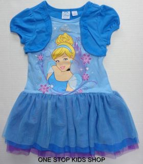 Disney Princess Girls 4 5 6 Set Outfit Dress Shirt Cinderella Belle Aurora