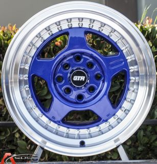 15x8 Str 512 4x00 0 Blue Wheel Fit Honda CRX Civic SI BMW E30 2002 VW Golf Rim