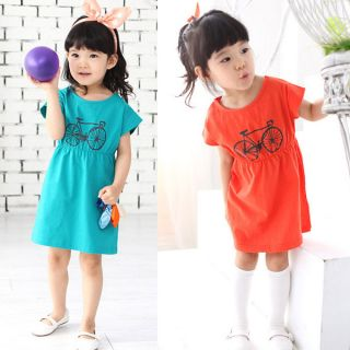 Toddler Baby Girls Kids Clothes Bicycle Printed Top Dresses Cotton Colors Skirt