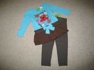 "New ""Elmo Is Fun"" Pants Girls Baby Clothes 18M Fall Winter Infant Sesame Street"