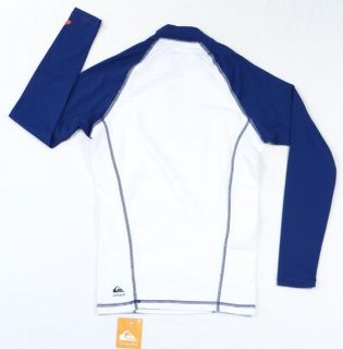 Quiksilver Signature White Blue PLAYA Hermosa Rash Guard Surf Shirt Mens