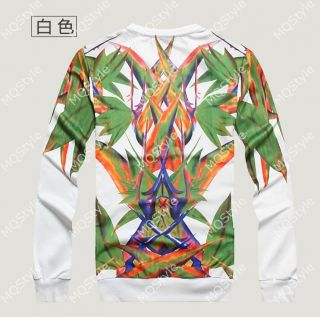 Mens Casual Crewneck Green Tree Print Long Sleeve Hip Hop Stylish Hoodie N534