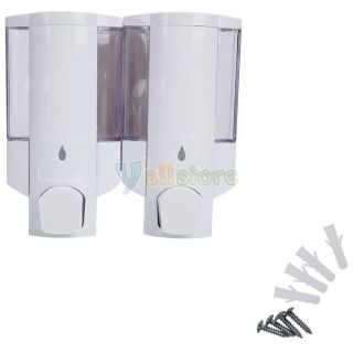 New Home Bathroom Wall Mounted Double Shower Soap Dispenser 400mlx2 White
