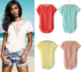New Women European Fashion Hollow Round Neck Summer Holiday Chiffon Shirts B2234