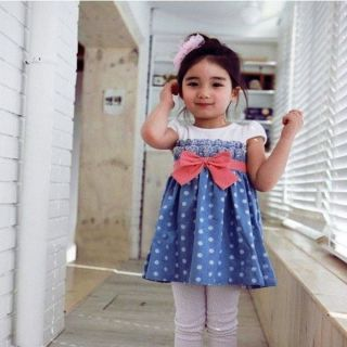 Girls Baby Kids Toddlers 1pcs Cowboy Blue Polka Dot Bowknot Dress Clothes S1 6Y