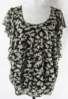 Daniel Rainn L Bird Print Black Beige Pleated Front Ruffles Top Blouse Shirt