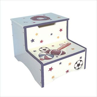 Teamson Kids Hand Painted Sports Step Stool with Storage   W 5423S