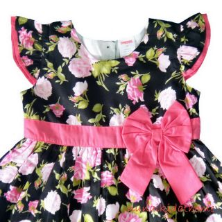 Gymboree Girls Dress Black Pink Rose Flower Toddler Kids 2 5 Year Szie 2T 3T 4T