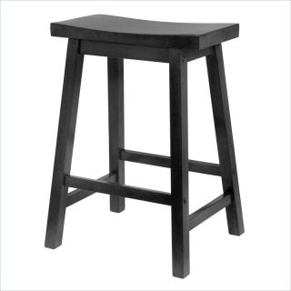 "Winsome 24"" Counter Height Saddle Seat Bar Stool in Black   20084"