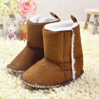 Brown Infant Toddler Baby Girls Boys Snow Boots Shoes Velcro Size 0 18 Months