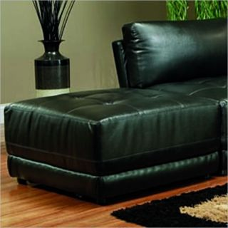 Coaster Kayson Contemporary Square Bonded Leather Ottoman in Black   500893