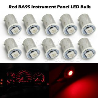 10x Red LED Dash Indicator Instrument Panel Cluster Gauges Light Bulbs BA9S
