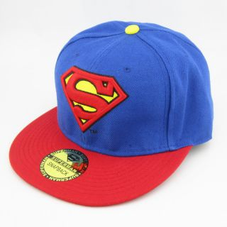 New Superman Hiphop Blue Red Snapback Adjustable Cosplay Baseball Cap Hat Flat