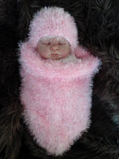 Hand Knitted Baby Sleeping Bag Papoose Cocoon Hat Photo Photography Prop 0 6M